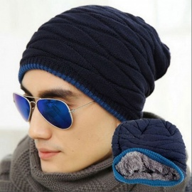 Unisex Beanie Winter Cap, Stripe Knitted Hiphop Hat for Men, Women - Navy