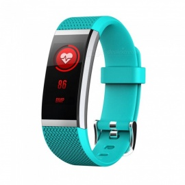 FIT HR2 Waterproof Sports Smart Bluetooth Bracelet with Heart Rate Monitor, Information Call Reminder for Android, iOS - Cyan