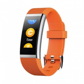 FIT HR2 Waterproof Sports Smart Bluetooth Bracelet with Heart Rate Monitor, Information Call Reminder for Android, iOS - Orange