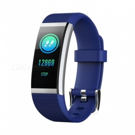 FIT HR2 Waterproof Sports Smart Bluetooth Bracelet with Heart Rate Monitor, Information Call Reminder for Android, iOS - Blue