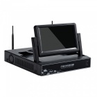 """STRONGSHINE Mini 4CH 1080P /960P/ 720P H.264 ONVIF Wi-Fi NVR with 7"""" LCD Screen, Connect with IP Camera (UK Plug)"""