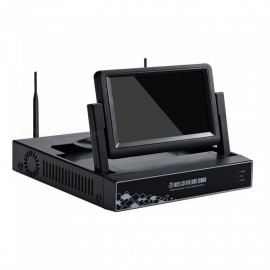 "STRONGSHINE Mini 4CH 1080P /960P/ 720P H.264 ONVIF Wi-Fi NVR with 7"" LCD Screen, Connect with IP Camera (EU Plug)"