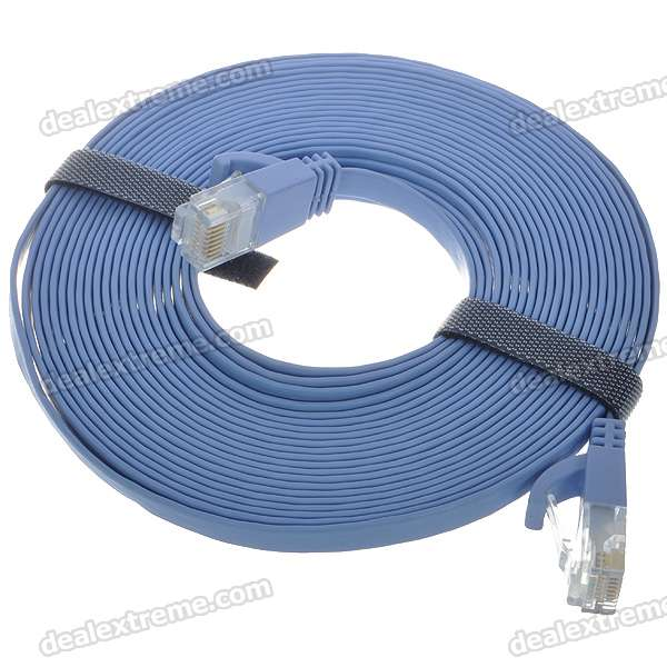 Ultra-Thin CAT-6 Male to Male RJ45 Ethernet LAN Cable - Blue (5M-Length)