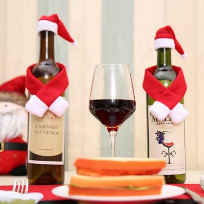 Unique Creative Cute Wine Bottle Scarf Hat Set for Christmas Home Decoration (2 PCS)Christmas Gadgets<br>Form  ColorRed + WhiteMaterialNon-wovenQuantity2 piecesSuitable holidaysChristmas,UniversalPacking List1 x Scarf1 x Hat<br>