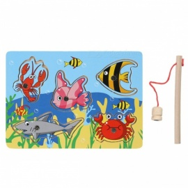 Wooden Magnetic Fishing Game 3D Jigsaw Puzzle Toy for Kids, Interesting Baby Children Cute Educational Toy, Chrismas Gift Colorful