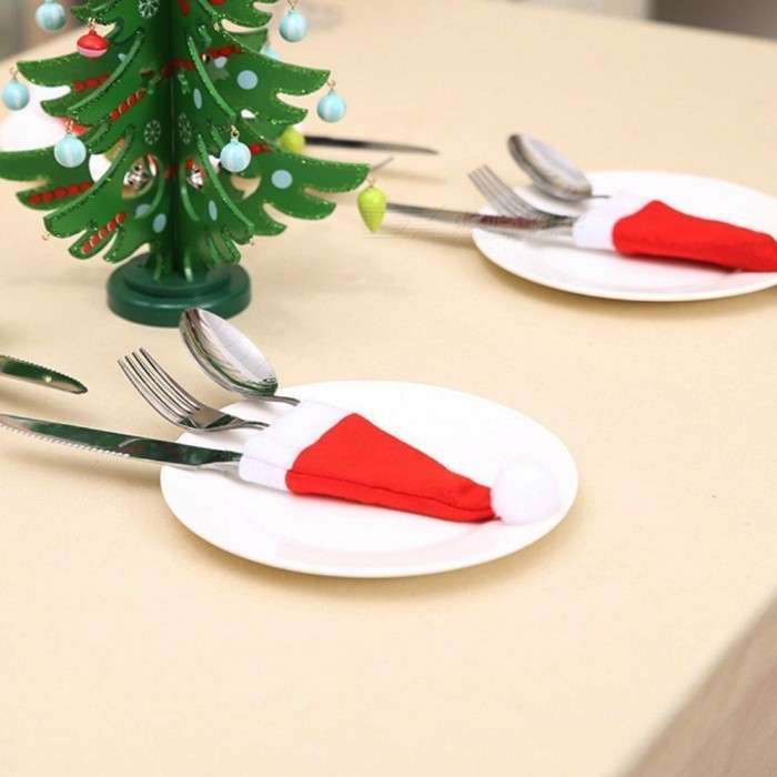 Premium 18 x 7cm Mini Cute Christmas Hat Cutlery Bag, Wine Bottle Cover (2 PCS)Christmas Gadgets<br>Form  ColorRed + WhiteMaterialFlannelQuantity2 piecesSuitable holidaysChristmas,UniversalPacking List2 x Small hats<br>