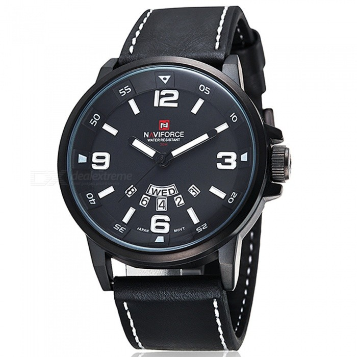 NAVIFORCE 9028 Mens Sports PU Leather Wrist Quartz Watch - Black + White (Without Gift Box)Sport Watches<br>Form  ColorBlack, White (Without Gift Box)ModelNF9028Quantity1 pieceShade Of ColorBlackCasing MaterialAlloyWristband MaterialPUSuitable forAdultsGenderMenStyleWrist WatchTypeSports watchesDisplayAnalogMovementQuartzDisplay Format12 hour formatWater ResistantWater Resistant 3 ATM or 30 m. Suitable for everyday use. Splash/rain resistant. Not suitable for showering, bathing, swimming, snorkelling, water related work and fishing.Dial Diameter4.7 cmDial Thickness1.2 cmWristband Length24.6 cmBand Width2.4 cmBattery1 x button batteryPacking List1 x Watch<br>