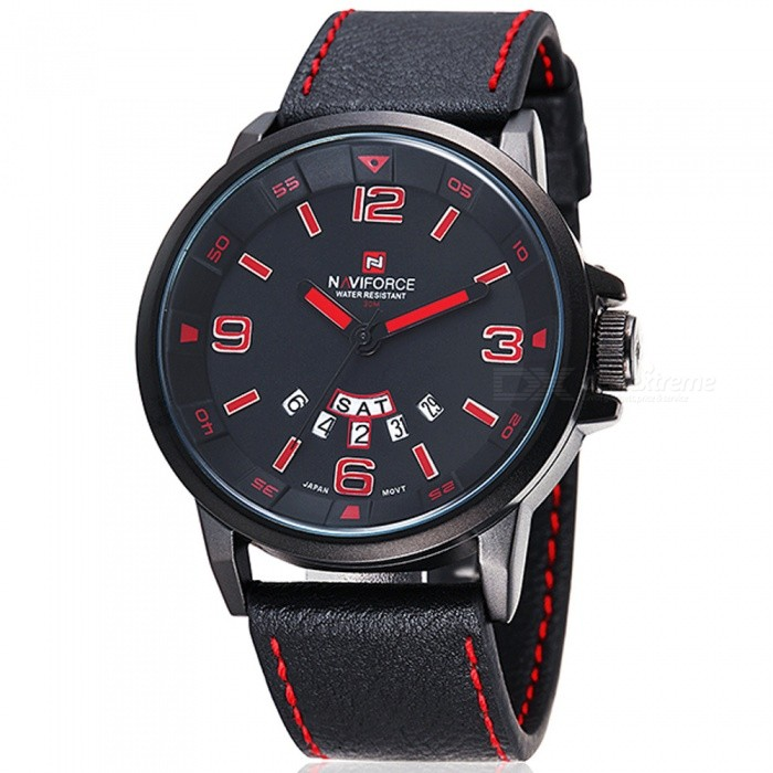NAVIFORCE 9028 Mens Sports PU Leather Wrist Quartz Watch - Black + Red (With Gift Box)Sport Watches<br>Form  ColorBlack, Red (With Gift Box)ModelNF9028Quantity1 pieceShade Of ColorBlackCasing MaterialAlloyWristband MaterialPUSuitable forAdultsGenderMenStyleWrist WatchTypeSports watchesDisplayAnalogMovementQuartzDisplay Format12 hour formatWater ResistantWater Resistant 3 ATM or 30 m. Suitable for everyday use. Splash/rain resistant. Not suitable for showering, bathing, swimming, snorkelling, water related work and fishing.Dial Diameter4.7 cmDial Thickness1.2 cmWristband Length24.6 cmBand Width2.4 cmBattery1 x button batteryPacking List1 x Watch1 x Gift Box<br>