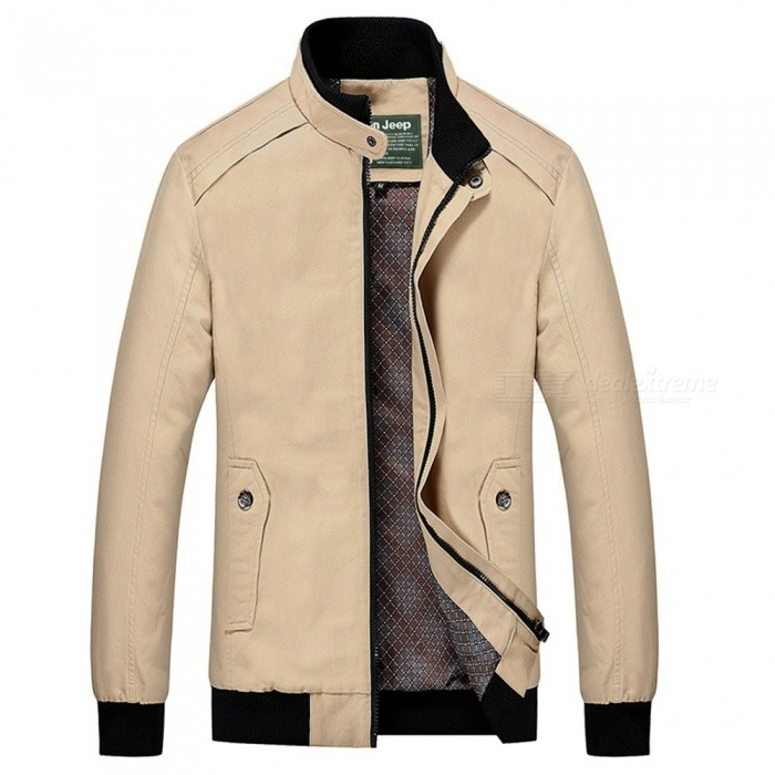 555 Casual Style Long Sleeved Pure Color Zipper Mens Cotton Slim Jacket for Outdoor Activities - Beige (3XL)Jackets and Coats<br>Form  ColorBeigeSizeXXXLModel555Quantity1 pieceShade Of ColorWhiteMaterialCotton and polyesterStyleFashionTop FlyZipperShoulder Width48.1 cmChest Girth118 cmWaist Girth112 cmSleeve Length67.5 cmTotal Length71 cmSuitable for Height180 cmPacking List1 x Coat<br>