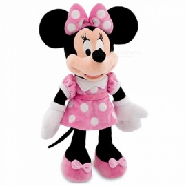 Premium High-End 48cm Cute Pink Stuffed Plush Minnie Mouse Doll Toy for Girlfriend & Kid, Chrismas Gift Black+Pink
