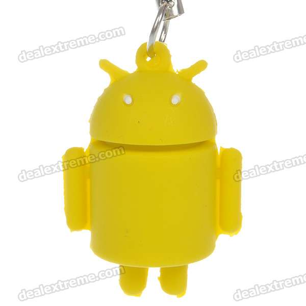 все цены на Cute Android Robot Cell Phone Strap - Yellow онлайн