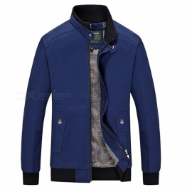 555 Casual Style Long Sleeved Pure Color Zipper Men's Cotton Slim Jacket for Outdoor Activities - Blue (L)
