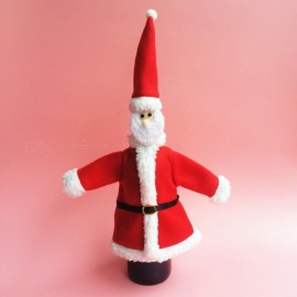 Mini Durable Cute Santa Hat Clothes Champagne Wine Bag Cover for Christmas Decoration (2 PCS)