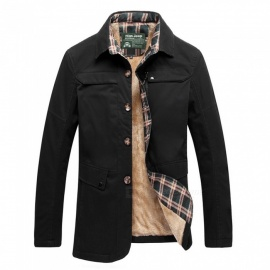 77092 Men's Fashion Winter Warm Cashmere Lapel Casual Outdoor Jacket Coat Outwear - Black (L)