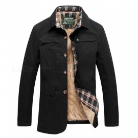 77092 Men's Fashion Winter Warm Cashmere Lapel Casual Outdoor Jacket Coat Outwear - Black (XL)