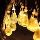 4m 20-LED Garland Metal Drop Fairy String Light for Outdoor Patio Wedding Party Christmas Decoration, 220V Warm White
