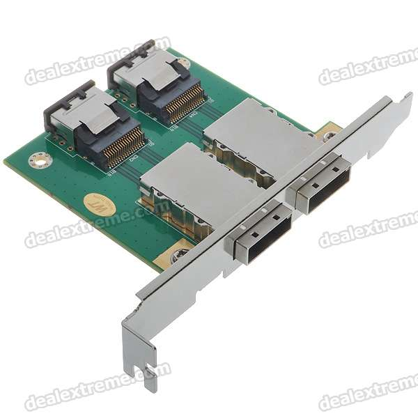 Mini SAS 26F/SFF 8088 to Mini SAS 36F/SFF 8087 Adapter Card - Dual Port
