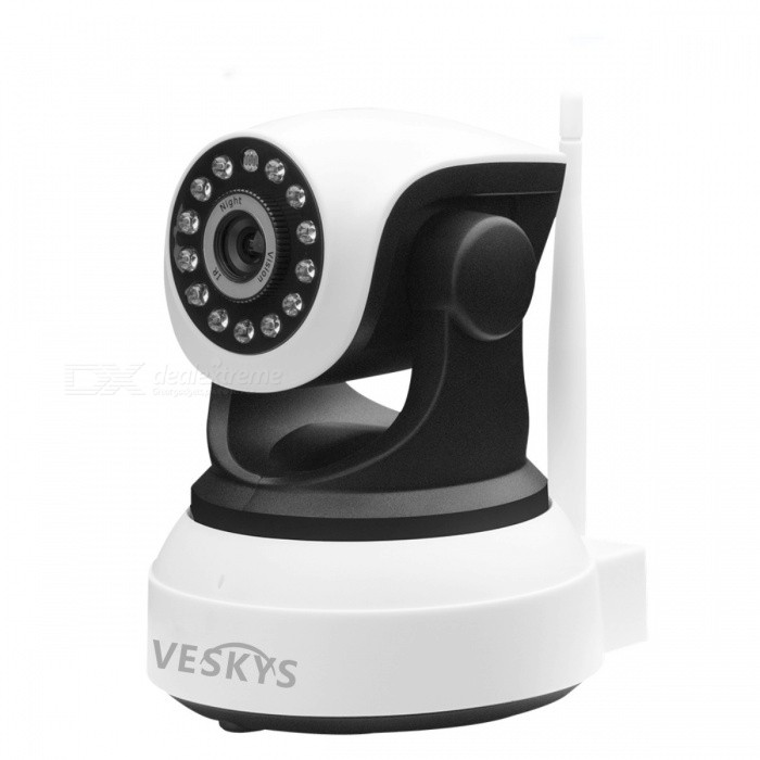 VESKYS T2 720P Wi-Fi Security IP Camera Baby Monitor with TF Card Slot - EU PlugIP Cameras<br>Form  ColorWhite + BlackPower AdapterEU PlugModelN/AMaterialABSQuantity1 pieceImage SensorCMOSImage Sensor SizeOthers,1/4inchPixels1.0MPLens3.6mmViewing AngleOthers,90 °Video Compressed FormatH.264Picture Resolution720P (1080 x 720) / VGA (640 x 360) / QVGA (320 x 180)Frame Rate25FPSInput/OutputBuilt-in microphone / AudioMinimum Illumination0.1 LuxNight VisionYesIR-LED Quantity13Night Vision Distance10 mWireless / WiFi802.11 b / g / nNetwork ProtocolTCP,IP,UDP,HTTP,SMTP,uPnPSupported SystemsWindows 2000,2003,XP,7Supported BrowserOthers,NOSIM Card SlotNoOnline Visitor4IP ModeDynamicMobile Phone PlatformAndroid,iOSFree DDNSYesIR-CUTYesBuilt-in Memory / RAMNoLocal MemoryYESMemory CardTFMax. Memory Supported64GBMotorYesRotation AngleHorizontal:350 degree Vertical:90 degreeSupported LanguagesEnglish,Simplified ChineseWater-proofNoIntercom FunctionYesPacking List1 x IP Camera1 x EU Plug Power Adapter (110~240V)1 x Bracket 1 x Pack of installation accessories1 x English user manual<br>