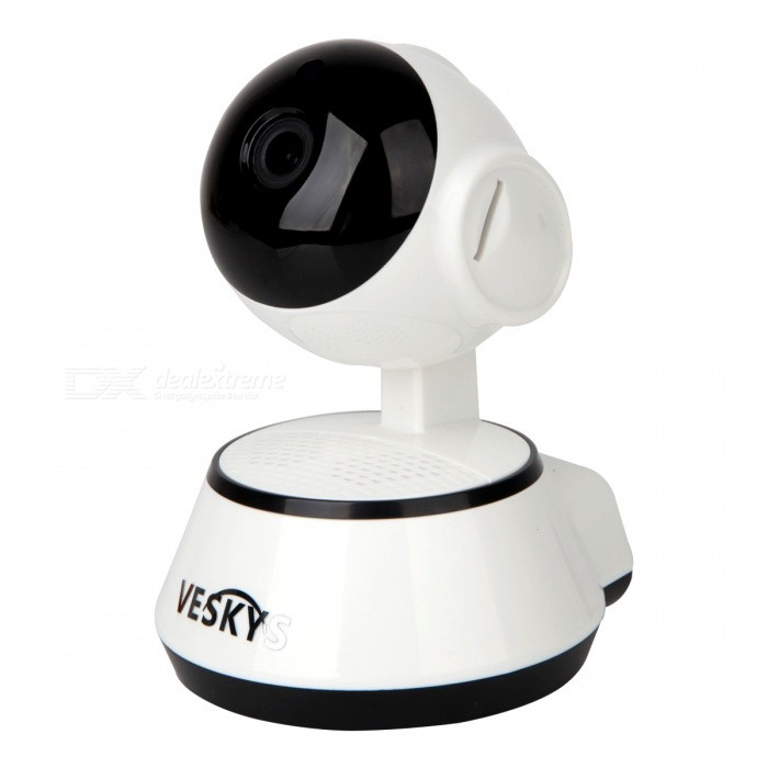 VESKYS 1.0MP 720P Mini Wireless Wi-Fi Security Surveillance IP Camera w/ Smart Phone Remote Monitoring (EU Plug)IP Cameras<br>Form  ColorWhite + YellowPower AdapterEU PlugModelN/AMaterialABSQuantity1 pieceImage SensorCMOSImage Sensor SizeOthers,1/4 inchPixels1.0MPLens3.6mmViewing Angle90 °Video Compressed FormatH.264Picture Resolution1080 *720pFrame Rate25fpsInput/OutputBuilt-in microphone/speakerAudio Compression FormatWMAMinimum Illumination0.1 LuxNight VisionYesIR-LED Quantity6Night Vision Distance8 mWireless / WiFi802.11 b / g / nNetwork ProtocolTCP,IP,SMTPSupported SystemsWindows 2000,2003Supported BrowserOthersSIM Card SlotNoOnline Visitor4IP ModeDynamicMobile Phone PlatformAndroid,iOSSmart AlarmMotion Detection AlarmFree DDNSYesIR-CUTYesBuilt-in Memory / RAMNoLocal MemoryYESMemory CardTFMax. Memory Supported64GMotorYesRotation AngleHorizontal 350 degree / vertical 90 degreeSupported LanguagesEnglish,Simplified ChineseWater-proofNoRate Voltage5VIntercom FunctionYesCertificationCEPacking List1 x IP Camera 1 x EU plug power adapter (110~240V)1 x Data cable (100cm)1 x Holder stand 1 x Pack of installation accessories1 x English/Chinese user manual<br>