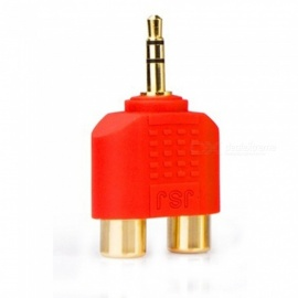 ZHAOYAO Gold-Plated Stereo Sound 3.5mm Male to 2 RCA Female Audio Converter Connector - Red
