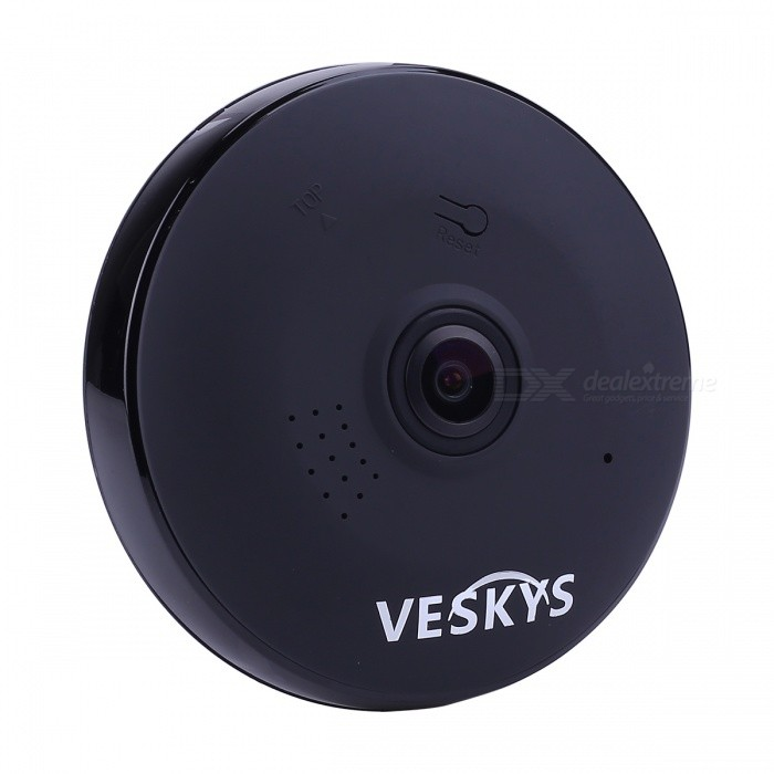 VESKYS 960P 360 Degree HD Full View IP Network Security WiFi Camera 1.3MP Fish Eye Lens - Black (US Plug)IP Cameras<br>Form  ColorBlackPower AdapterUS PlugModelN/AMaterialABSQuantity1 pieceImage SensorCMOSImage Sensor SizeOthers,1/4 inchPixels1.3MPLensOthers,1.44mmViewing AngleOthers,360 °Video Compressed FormatH.264Picture Resolution1280* 960Frame Rate25FPSInput/OutputTwo-way voiceMinimum Illumination0.1 LuxNight VisionYesIR-LED Quantity3Night Vision Distance10 mWireless / WiFi802.11 b / g / nNetwork ProtocolTCP,IP,UDP,HTTP,SMTP,uPnP,PPPoE,TFTPSupported SystemsOthers,NOSupported BrowserOthers,NOSIM Card SlotNoOnline Visitor4IP ModeDynamicMobile Phone PlatformAndroid,iOSFree DDNSYesIR-CUTYesBuilt-in Memory / RAMNoLocal MemoryYesMemory CardTF cardMax. Memory Supported128GBMotorNoSupported LanguagesEnglish,Simplified ChineseWater-proofNoPacking List1 x 360 Degree IP Camera 1 x USB Cable (300cm)1 x US Plug power adapter (110~240V)1 x Camera Fixed chassis1 x Pack of installation accessories<br>