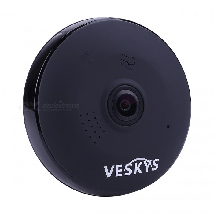 VESKYS 960P 360 Degree HD Full View IP Network Security WiFi Camera 1.3MP Fish Eye Lens - Black (UK Plug)IP Cameras<br>Form  ColorBlackPower AdapterUK PlugModelN/AMaterialABSQuantity1 pieceImage SensorCMOSImage Sensor SizeOthers,1/4 inchPixels1.3MPLensOthers,1.44mmViewing AngleOthers,360 °Video Compressed FormatH.264Picture Resolution1280* 960Frame Rate25FPSInput/OutputTwo-way voiceMinimum Illumination0.1 LuxNight VisionYesIR-LED Quantity3Night Vision Distance10 mWireless / WiFi802.11 b / g / nNetwork ProtocolTCP,IP,UDP,HTTP,SMTP,uPnP,PPPoE,TFTPSupported SystemsOthers,NOSupported BrowserOthers,NOSIM Card SlotNoOnline Visitor4IP ModeDynamicMobile Phone PlatformAndroid,iOSFree DDNSYesIR-CUTYesBuilt-in Memory / RAMNoLocal MemoryYesMemory CardTF cardMax. Memory Supported128GBMotorNoSupported LanguagesEnglish,Simplified ChineseWater-proofNoPacking List1 x 360 Degree IP Camera 1 x USB Cable (300cm)1 x UK Plug power adapter (110~240V)1 x Camera Fixed chassis1 x Pack of installation accessories<br>