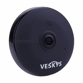 VESKYS 960P 360 Degree HD Full View IP Network Security WiFi Camera 1.3MP Fish Eye Lens - Black (UK Plug)