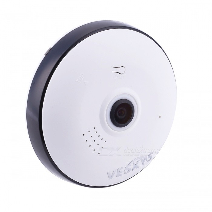 VESKYS 960P 360 Degree HD Full View IP Network Security WiFi Camera 1.3MP Fish Eye Lens - White (US Plug)