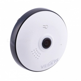 VESKYS 960P 360 Degree HD Full View IP Network Security WiFi Camera 1.3MP Fish Eye Lens - White (UK Plug)