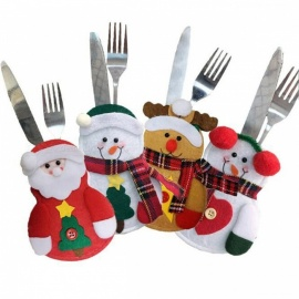 P-TOP Snowman Santa Claus Elk Cutlery Pockets Bags Set for Home Christmas Decoration (4 PCS)