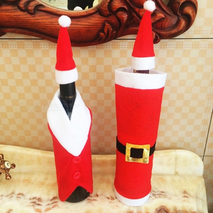 P-TOP 2Pcs Santa Claus Decor Wine Bottle Covers Caps for Christmas, New Year Kitchen DecorationChristmas Gadgets<br>Form  ColorWhite + RedMaterialNon-woven FabricsQuantity2 piecesSuitable holidaysChristmasPacking List2 x Wine bottle cover set (cap+clothing)<br>