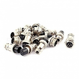 ZHAOYAO DIY 16mm 6-Pin GX16 Aviation Plug Socket Connector - Silver (10-Pair)