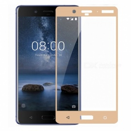 Naxtop Tempered Glass Full Screen Protector  for Nokia 8 - Golden