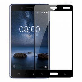 Naxtop Full Screen Protector Tempered Glass for Nokia 8 - Black