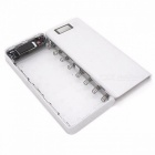 DIY 18650 Case Power Bank Shell Case Portable External 18650 Battery Box with LCD Display for Cell Phone - White