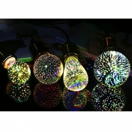 Decorative Silver Plated Glass 3D Star LED Edison Bulb G80  Holiday Christmas Decoration Bar LED Lamp Lamparas G80 Star
