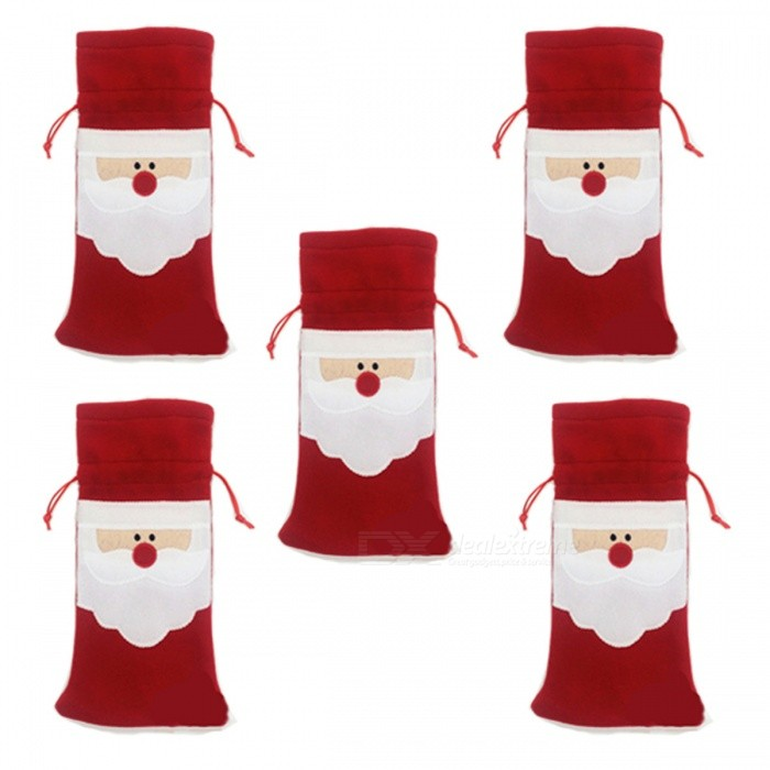 P-TOP Merry Xmas Santa Claus Red Wine Bottle Bags for Christmas Dinner Party Table Decoration Ornament (5 PCS)Christmas Gadgets<br>Form  ColorWhite + RedMaterialNon-woven FabricsQuantity5 piecesSuitable holidaysChristmasPacking List5 x Wine Bottle Cover bags<br>