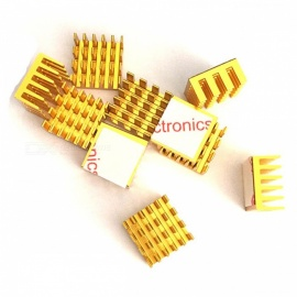 10pcs 15x15x8mm Square Aluminum Heatsink Cooling Fin for Mosfet IC - Golden