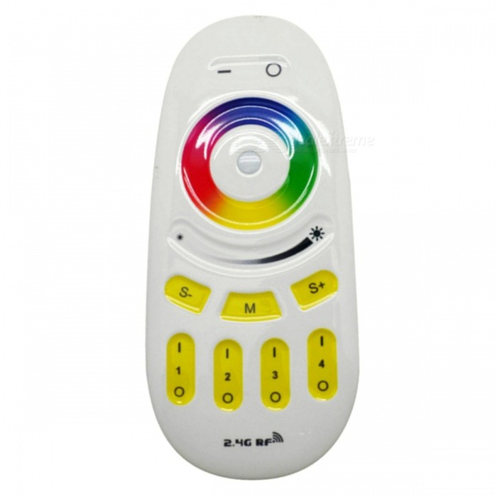 JRLED 2.4GHz RF Touch RGB Remote Control Controller, 30 Meters Effective DistanceSmart Lighting<br>Color BIN2.4G wireless RGB touch remote controllerForm  ColorWhite + Red + Multi-ColoredPowerN/APower SupplyDC3VModelN/AMaterialPC + Silica gelQuantity1 DX.PCM.Model.AttributeModel.UnitRated VoltageOthers,DC3V DX.PCM.Model.AttributeModel.UnitChip BrandEpistarChip TypeN/AEmitter TypeOthers,N/ATotal Emitters1Theoretical Lumens1 DX.PCM.Model.AttributeModel.UnitActual Lumens1 DX.PCM.Model.AttributeModel.UnitColor Temperature12000K,Others,N/ADimmableYesBeam AngleN/A DX.PCM.Model.AttributeModel.UnitWavelengthN/ACertificationCE ROHSPacking List1 x 2.4GHz RF Touch RGB remote controller (battery not included)<br>