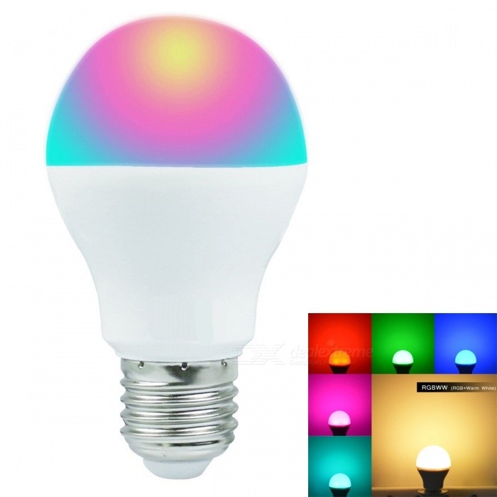 JRLED E27 6W RGB + Warm White 16 Million Colors Smart LED Light Bulb - AC 85~265VSmart Lighting<br>Color BIN6W RGB+Warm WhiteForm  ColorWhite + SilverPower6WPower Supply85-265VModelN/AMaterialAluminum alloy + PCQuantity1 DX.PCM.Model.AttributeModel.UnitRated VoltageAC 85-265 DX.PCM.Model.AttributeModel.UnitConnector TypeE27Chip BrandEpistarChip TypeN/AEmitter TypeOthers,5050 SMD+2835 SMDTotal Emitters1Theoretical Lumens600 DX.PCM.Model.AttributeModel.UnitActual Lumens450 DX.PCM.Model.AttributeModel.UnitColor Temperature3000KDimmableYesBeam Angle270 DX.PCM.Model.AttributeModel.UnitWavelengthR:635nm G:525nm B:460nmCertificationCE ROHSPacking List1 x E27 LED Bulb (remote controller not included)<br>