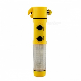 ZHISHUNJIA 4-in-1 Manual Emergency LED Flashlight w/ Safety Hammer for Outdoor Activities - Yellow