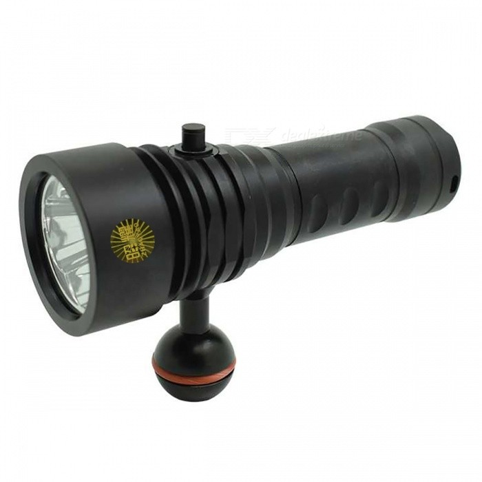 ZHAOUAO XM-L L2 3-LED Professional 3-Mode 18650 Diving Flashlight Torch - BlackDiving Flashlights<br>Form  ColorBlackForm  ColorBlackQuantity1 pieceMaterialAluminium alloyEmitter BrandCreeLED TypeXM-LEmitter BINothers,L2Color BINWhiteNumber of Emitters3Theoretical Lumens2400 lumensActual Lumens2400 lumensPower Supply1*18650/1*26650Working Voltage   3.7 VCurrent8.2 ARuntime1-2 hoursNumber of Modes3Mode ArrangementHi,Low,Slow StrobeMode MemoryNoSwitch TypeTwistySwitch LocationSideLens MaterialGlassReflectorAluminum SmoothWorking Depth Underwater100 mStrap/ClipNoPacking List1 x Underwater Video Light1 x 18650 Battery1 x Battery Charger<br>