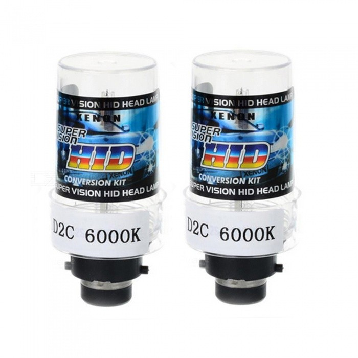 D2C 35W 6000K 3500lm Automobile Car HID Xenon Light Bulb Headlight - White LightHeadlights<br>Color Temperature6000KModelD2CQuantity1 setMaterialQuartz tubeForm  ColorBlack + Blue + Multi-ColoredTypeHID LampCompatible Car ModelSuitable for all cars with D2C / D2S / D2R connectorsTypeACInput Voltage9~16 VRate Voltage12VOutput Power35 WColor BINWhiteTheoretical Lumens3500 lumensActual Lumens3200-3500 lumensSocket TypeD2C,D2R,D2SPacking List2 x Xenon Headlights<br>