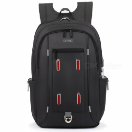 "DTBG 17.3"" Water Resistant Laptop Backpack Durable Travel Business Backpack with USB Charging Port - Black"