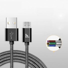 HOCO Metal Charging Data Cable Nylon Wire Charger for Lightning iPhone iPad Micro USB Type C for Samsung Xiaomi 3in1 Cord 2in1 100cm /Tarnish (Micro USB)