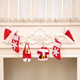 DIY Christmas Pull Flag Style Mini Fireplace Decoration Set for Holiday (6 PCS)