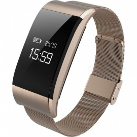 A66 Metal Sports Smart Bracelet Wristband with Heart Rate Blood Pressure Fatigue Monitoring Sedentary Reminder - Gold