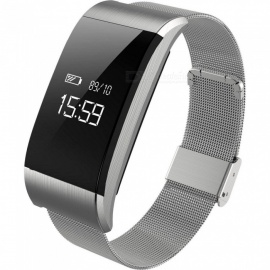 A66 Metal Sports Smart Bracelet Wristband with Heart Rate Blood Pressure Fatigue Monitoring Sedentary Reminder - Silver