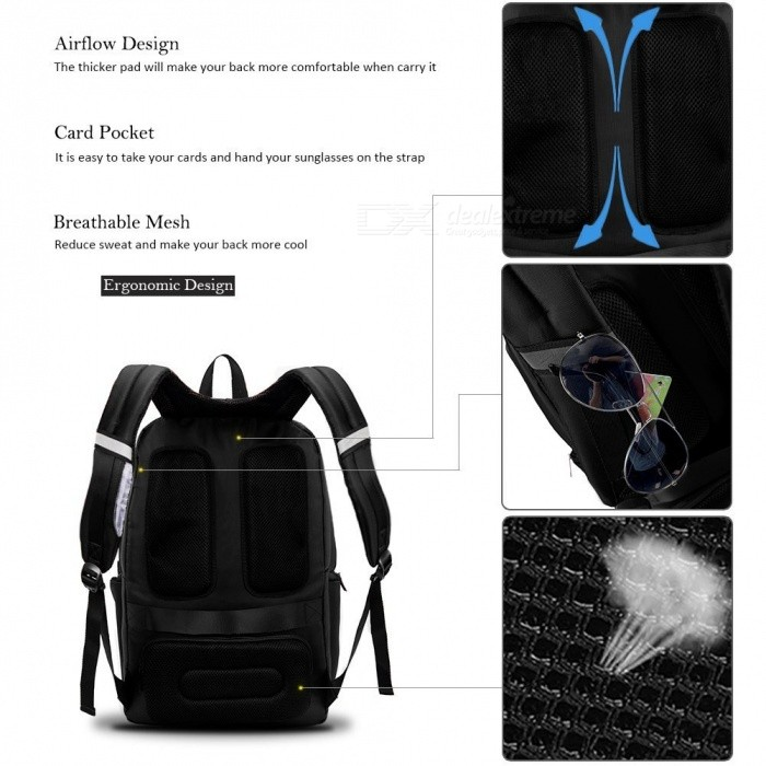 fe60e1066576 DTBG 17.3 Inches Laptop Backpack Travel Water-Resistant Professional Bag  with USB Charging Port for Laptop - Black