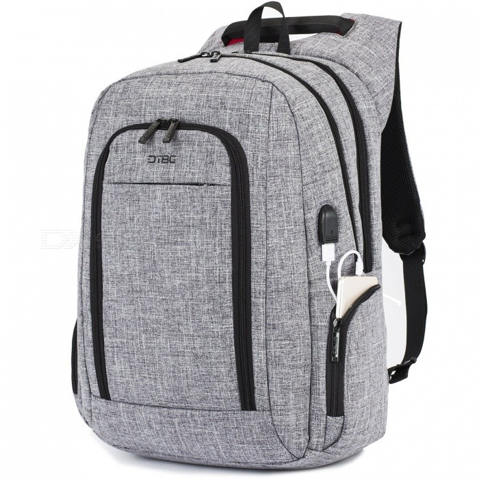 DTBG 17.3 Laptop Backpack Durable Travel Business Backpack with USB Charging Port Anti-theft Pocket for Men / Women - GreyBags and Pouches<br>Form  ColorGreyModelD8234WQuantity1 pieceShade Of ColorGrayMaterialNylonCompatible Size17.3 inchTypeBackpacksPacking List1 x Backpack<br>